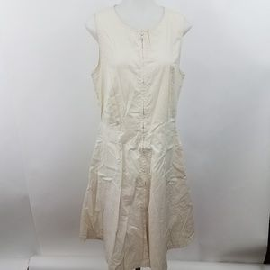 Theory Dress 10 Tan Cream Fit Flare A-line Work Ca